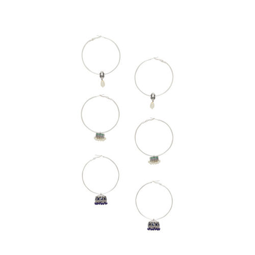 Voylla Silver-Toned Circular Drop Earrings