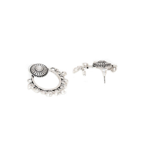 Voylla Silver-Toned Geometric Drop Earrings