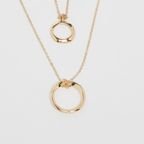 GINGER Golden Layered Necklace with Ring Pendant