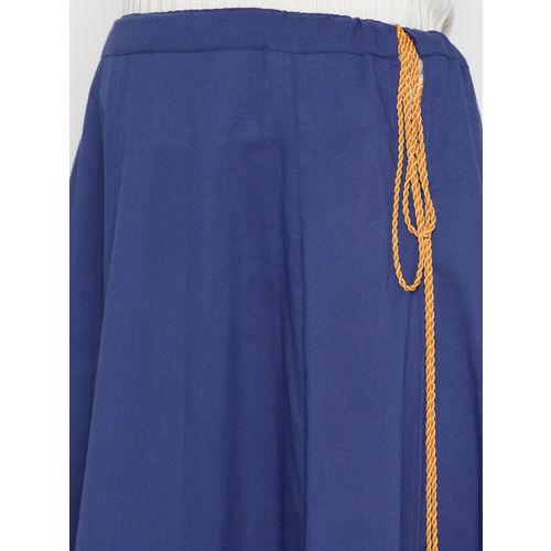 HERE&NOW Women Blue Solid Flared Kalidar Skirt