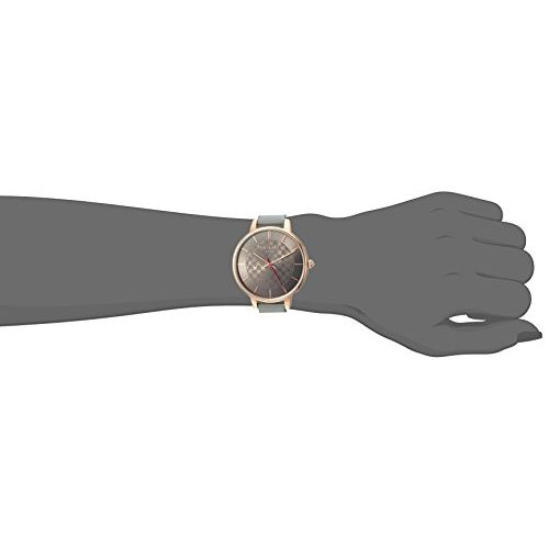 Ted Baker Women's 'Kate' Quartz Stainless Steel and Leather Casual Watch, Color:Grey (Model: TEC0025018)
