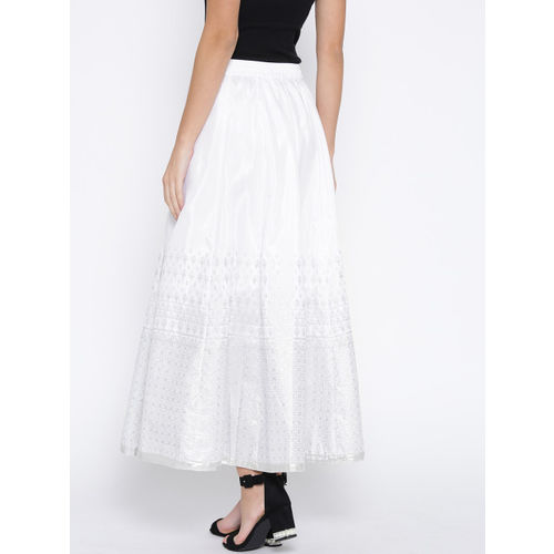 AURELIA White & Silver Printed Maxi Flared Skirt