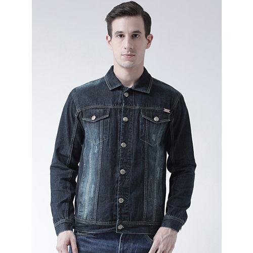 FEVER Men Navy Blue Solid Denim Jacket