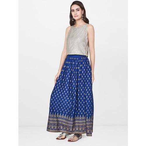 Global Desi Women Navy Printed A-line Maxi Skirt
