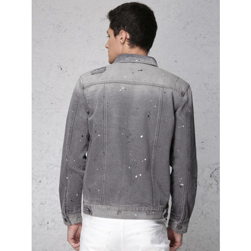 Ecko Unltd Men Light Grey Solid Trucker Denim Jacket