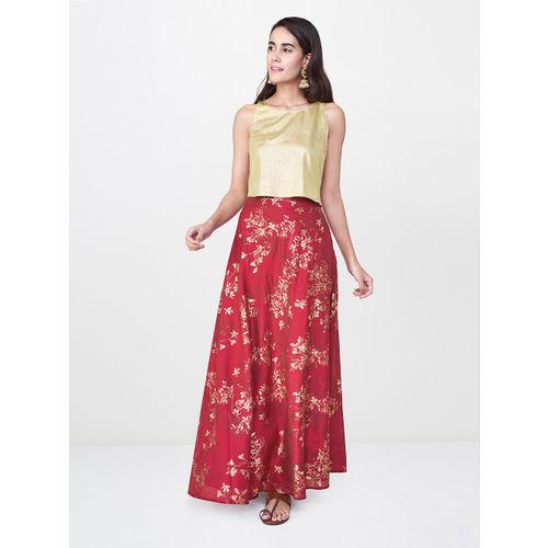 Global Desi Women Red Foil Printed A-Line Maxi Skirt