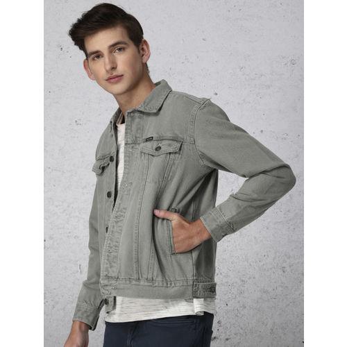Ecko Unltd Men Grey Solid Denim Jacket