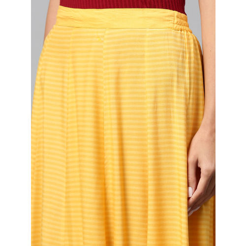 Shree Women Yellow Striped Maxi Flared Skirt