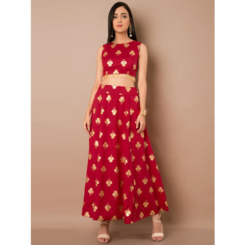 INDYA Women Red Printed A-line Maxi Skirt