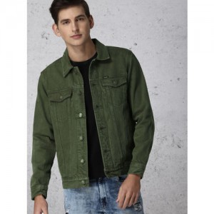 Ecko Unltd Men Olive Green Solid Denim Jacket