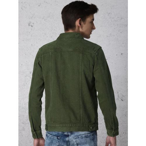 Ecko Unltd Men Olive Green Solid Denim Jacket