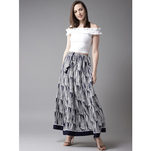 HERE&NOW Navy Blue & White Printed Maxi Flared Skirt