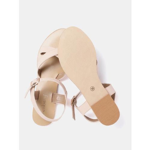 DressBerry Women Peach-Coloured Solid Open Toe Flats