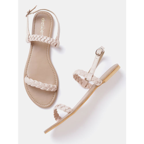 DressBerry Women Peach-Coloured Solid Braided Flats