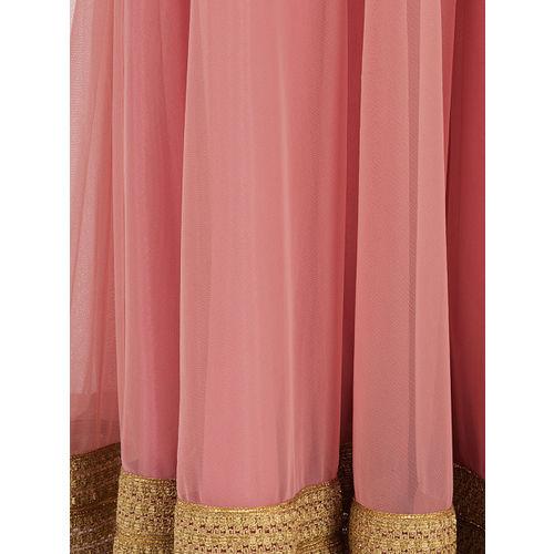 INDYA Women Pink Embroidered A-Line Maxi Skirt