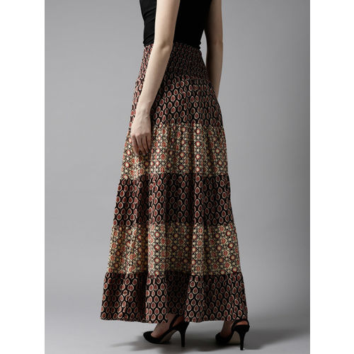 HERE&NOW Coffee Brown & Beige Ethnic Print Maxi Tiered Skirt