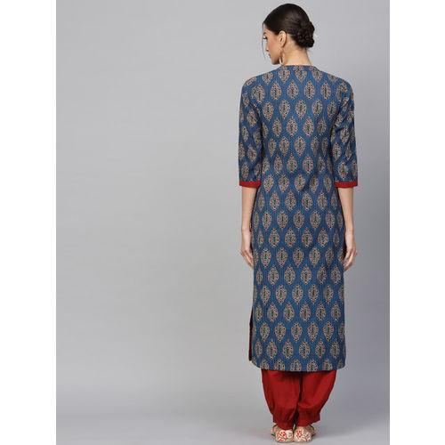 AKS Women Navy Blue & Maroon Printed Kantha Work Straight Kurta