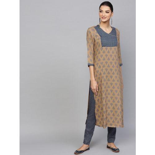 AKS Women Beige & Blue Printed Kurta with Trousers