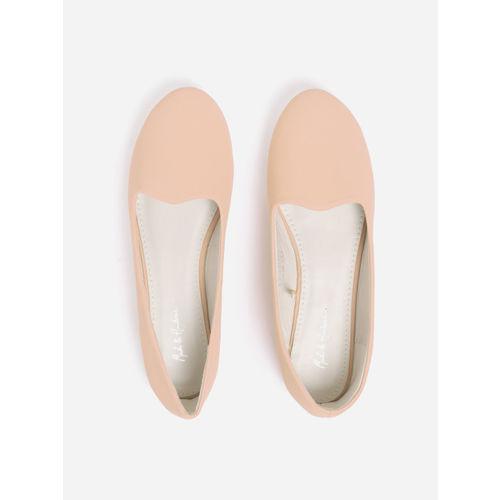 Mast & Harbour Women Peach-Coloured Solid Ballerinas
