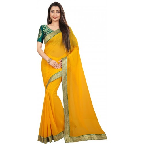 Anand Sarees Yellow Chiffon Solid Bollywood Saree