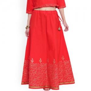 9rasa Women Red & Gold Block Printed Maxi Skirt