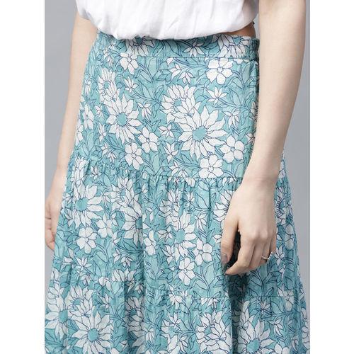 AKS Blue & White Printed Tasselled Maxi Tiered Skirt