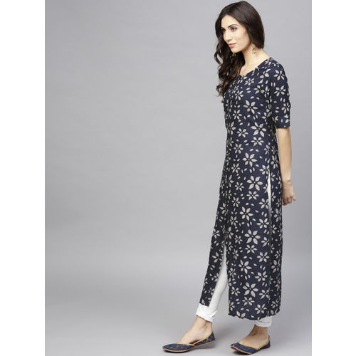 AKS Women Navy Blue & Grey Printed Straight Kurta