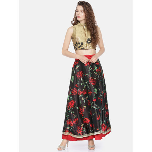 Ira Soleil Black & Red Floral Print A-Line Maxi Reversible Skirt