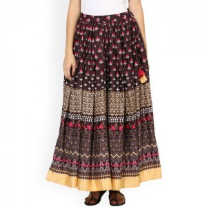 Juniper Brown Printed Maxi Skirt