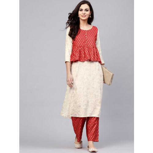 AKS Women Off-White & Red Printed Layered Kurta