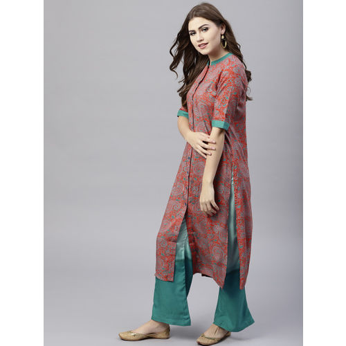 AKS Women Orange & Teal Blue Printed Straight Kurta