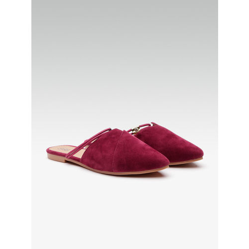 Street Style Store Women Maroon Solid Mules with Embellished Detail