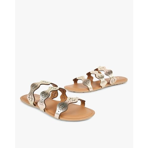 dfab38ae9 Buy AJIO Strappy Slip-On Laser-Cut Flat Sandals online
