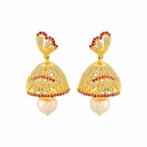 Voylla Swarnam Jhumka Earrings with Gold Plating