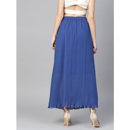 21bca0d31 Buy Athena Women Blue Solid Pleated A-Line Maxi Skirt online ...