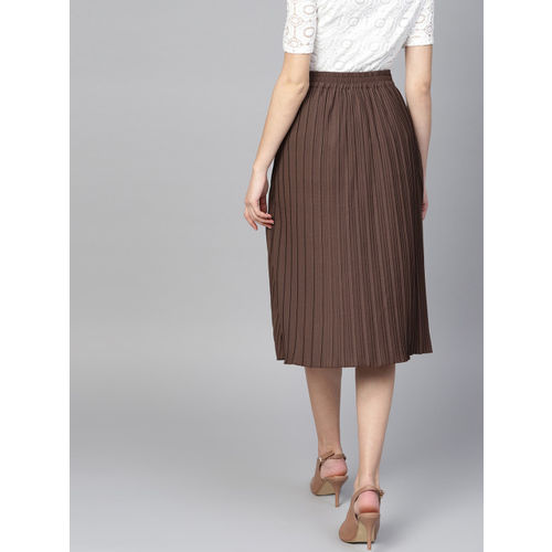 Athena Women Brown Solid Pleated A-Line Skirt