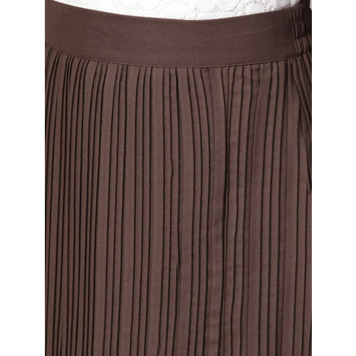 fc5b77e0a Buy Athena Women Brown Solid Pleated A-Line Skirt online | Looksgud.in