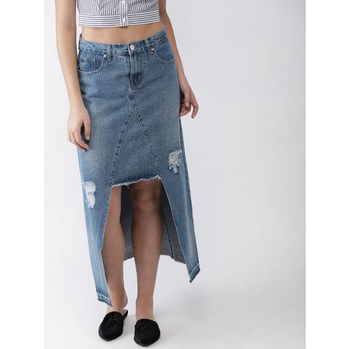 FOREVER 21 Women Blue Washed Denim High-Low Skirt
