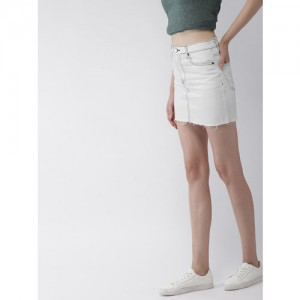 FOREVER 21 Women White Washed Denim Mini Skirt