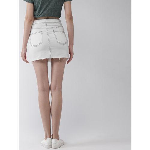 FOREVER 21 Women White Washed Denim Mini Skirt