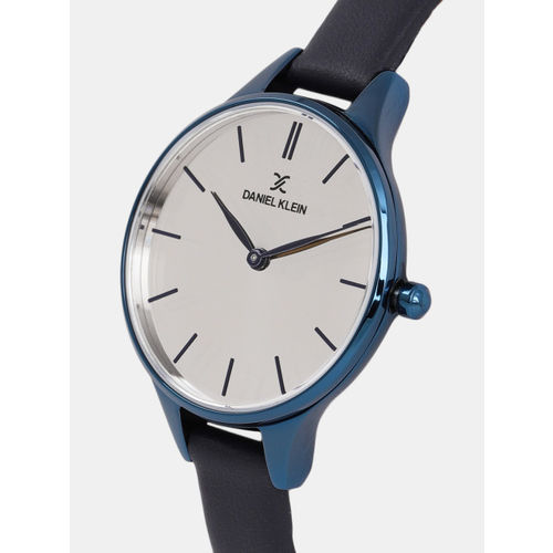 Daniel Klein Women Silver-Toned Leather Analogue Watch