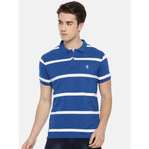 Pepe Jeans Men Blue & White Striped Polo Collar T-shirt