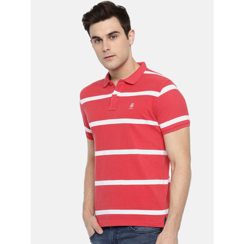 Pepe Jeans Coral Pink & White Striped Polo Collar T-Shirt