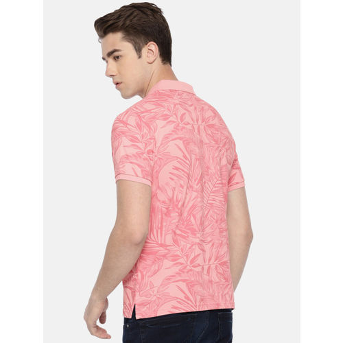 Pepe Jeans Men Pink Printed Polo Collar T-shirt