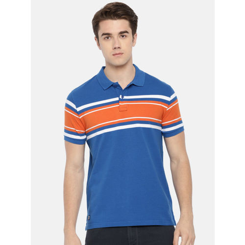 Pepe Jeans Men Blue & Orange Striped Polo T-shirt