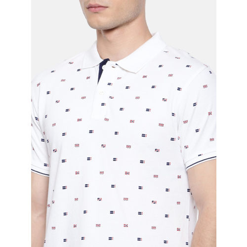 Pepe Jeans Men White & Navy Printed Polo Collar T-shirt