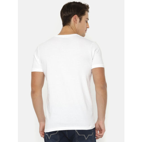 Pepe Jeans Men White & Blue Printed Round Neck T-shirt