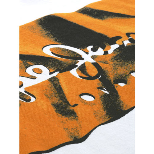 Pepe Jeans Men White & Orange Slim Fit Printed Round Neck T-shirt