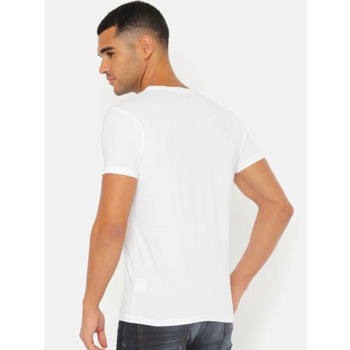 Pepe Jeans Men White & Orange Slim Fit Printed Round Neck T-shirt