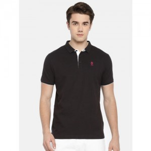 Pepe Jeans Men Black Solid Polo Collar T-shirt